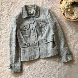 Loft Blue Tweed Blazer Jacket